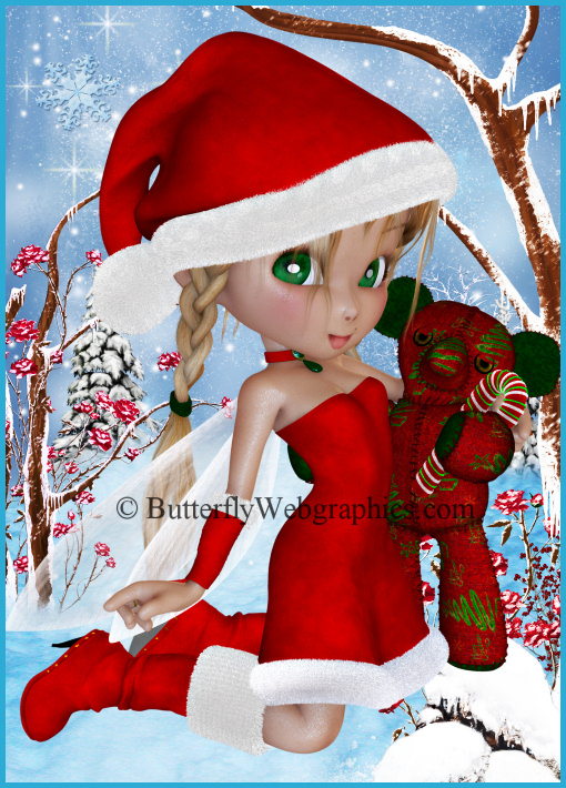 December Monthly Fairy, bear and candy cane tubes