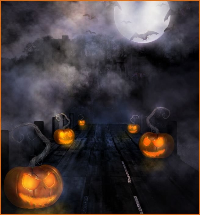 Ghostly Halloween backgrounds and props