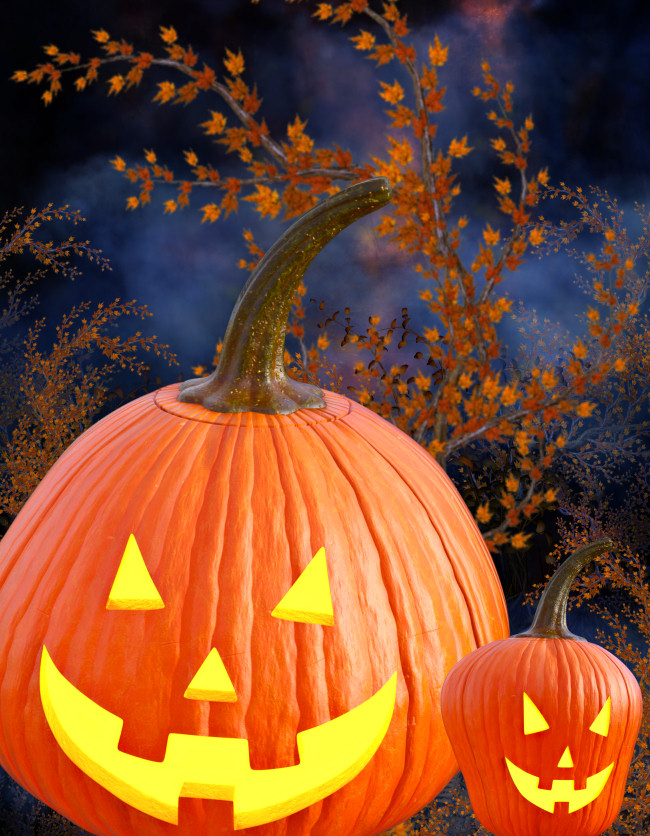 Glowing Jack-o-lantern Halloween Graphics in the PNG format