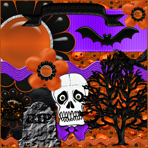 Halloween Scrapbook Kit, Halloween scrapbook elements.