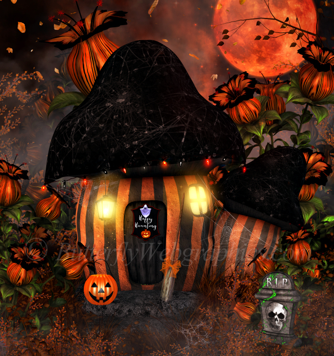 Halloween Mushroom Houses tubes in the PNG format