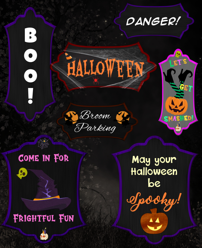 Halloween Signs tubes in the PNG format