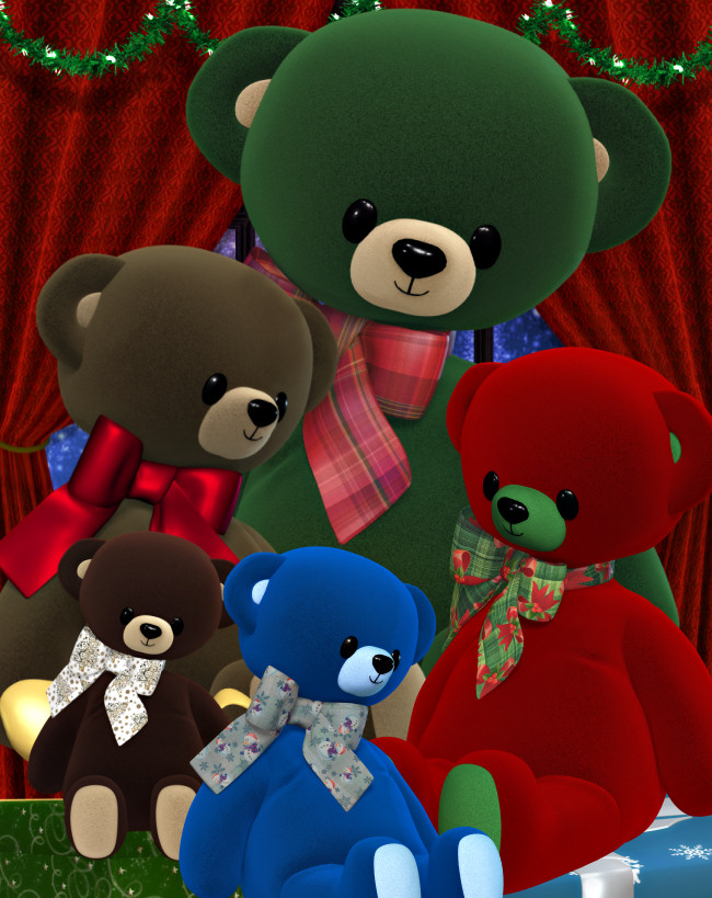Holiday Teddy Bear Graphics in the PNG format