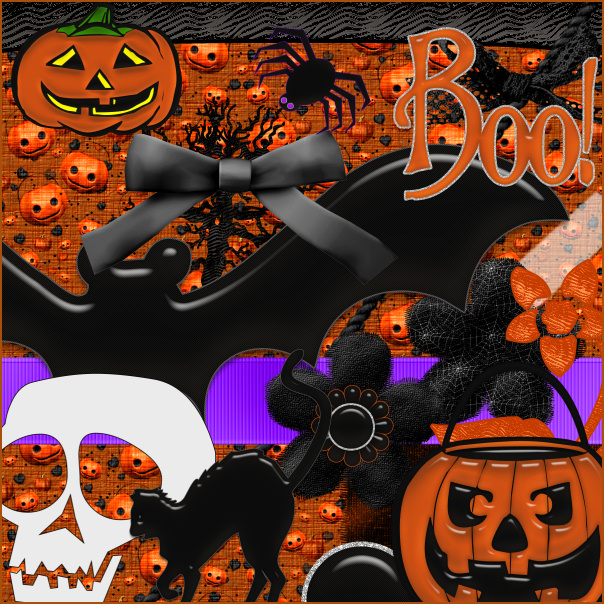 Halloween Scrapbook Kit, Halloween holiday graphics for digital and print scrapbooks.