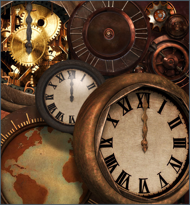 Steam Punk Clock Graphics with transparent background