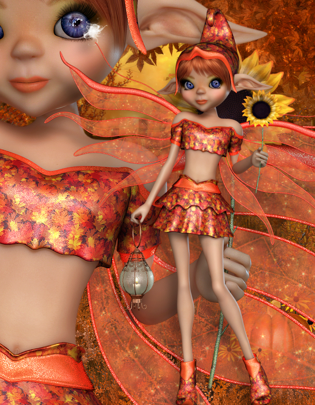 Sweet Fall Fairy Graphics in the PNG format.