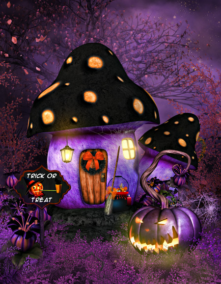 Halloween Mushroom Background Graphics