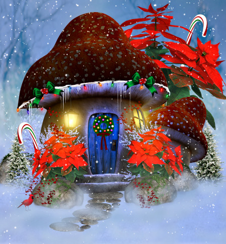 Christmas Mushroom House Backgrounds