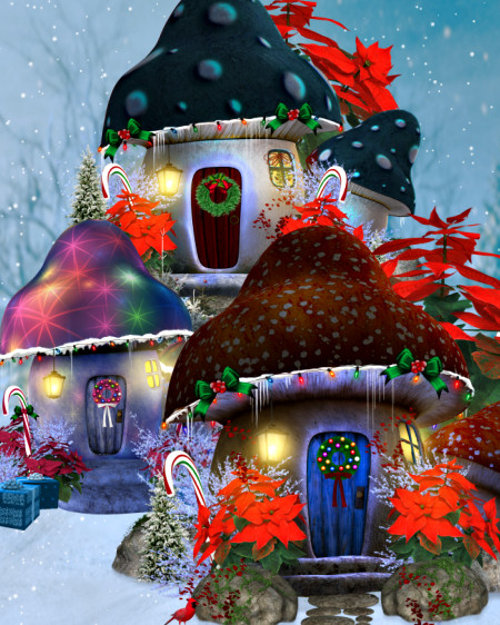 Christmas Mushroom House Graphics