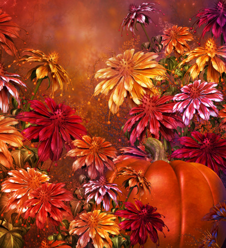 Fall Harvest Flower Graphics
